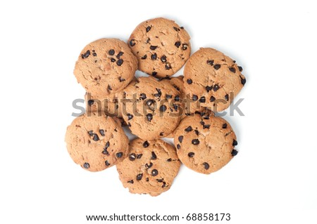 Cookie chips with dark chocolate from top
