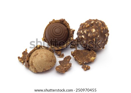 cookie chocolate with a bite and crumb isolated on white background - stock photo