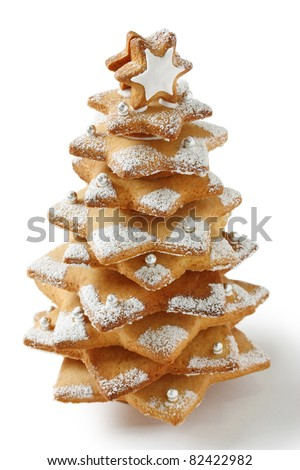 cookie christmas tree made by star cookie cutter ,  on white background - stock photo