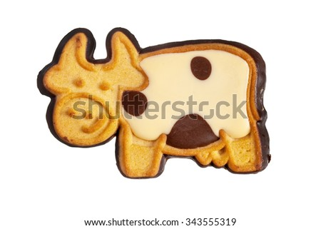 Cookie cow isolated over white - stock photo