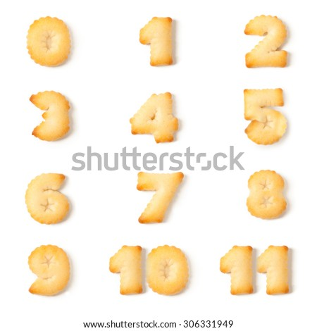 cookie font alphabet 0,1,2,3,4,5,6,7,8,9,10,11 isolated on white background. - stock photo