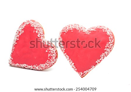 cookie hearts on a white background - stock photo