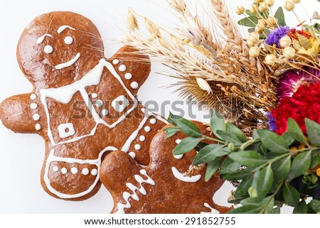 cookie man Isolated on white background - stock photo