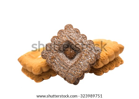 cookie sandwich on white background - stock photo