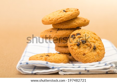 Cookie stack sweet desert on vintage cloth - stock photo
