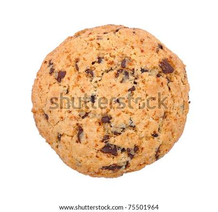 Cookie with chocolate isolated on white background - stock photo