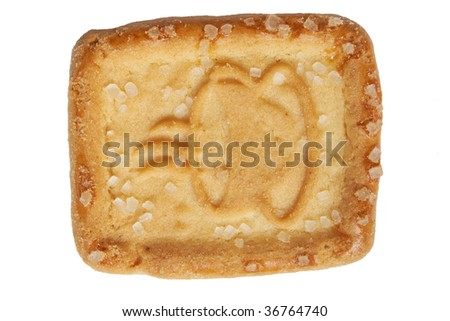 Cookie with coffee symbol - white background