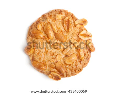 Cookie with nuts isolated on white background