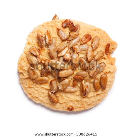 Cookie with seeds isolated on white background