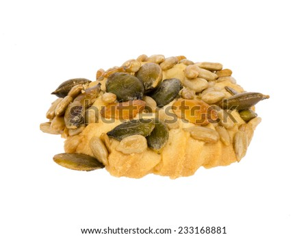 Cookie with sunflower and pumpkin seeds.