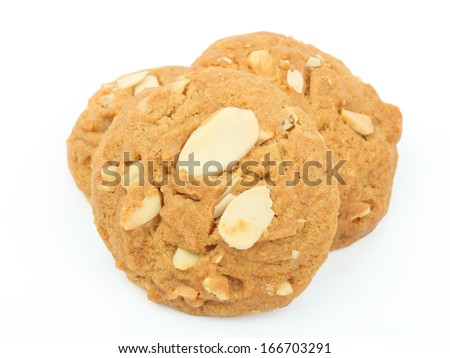 cookies almond on white background - stock photo