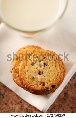 Cookies an glass of milk - close-up - stock photo