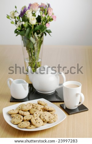 Cookies and a cup of tea.