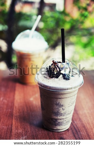 cookies and cream frappe with ice cappuccino coffee  - stock photo