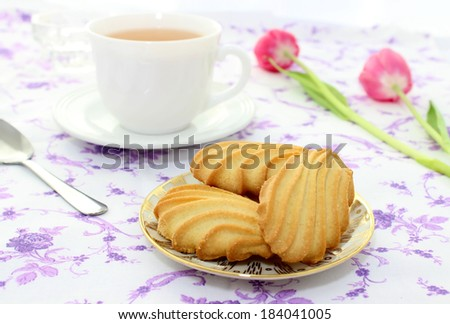 cookies and cup of tea - stock photo