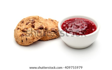 Cookies and homemade raspberry jam isolated on white - stock photo
