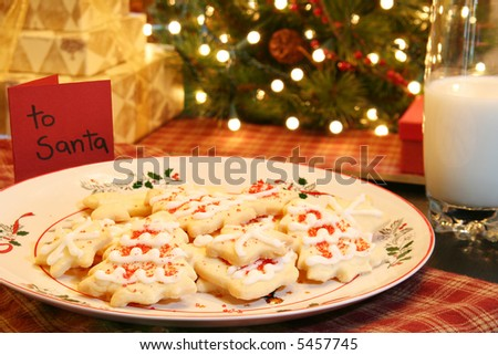 Cookies and milk for Santa - stock photo
