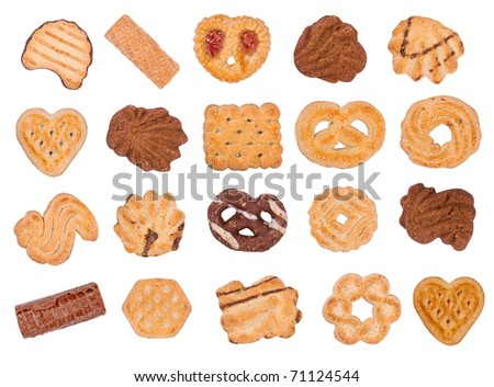 Cookies and wafers on white