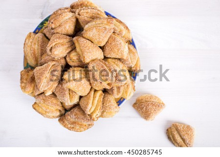 cookies cottage cheese on a white wooden background - stock photo
