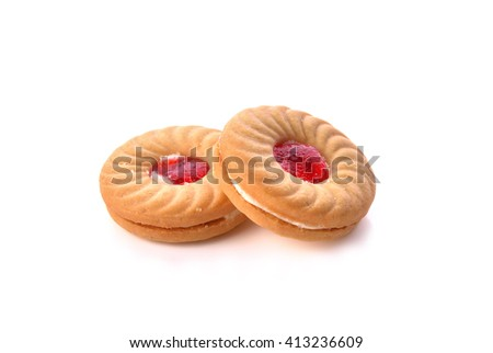 Cookies cream filling with a mixture of strawberry isolated on white background . - stock photo
