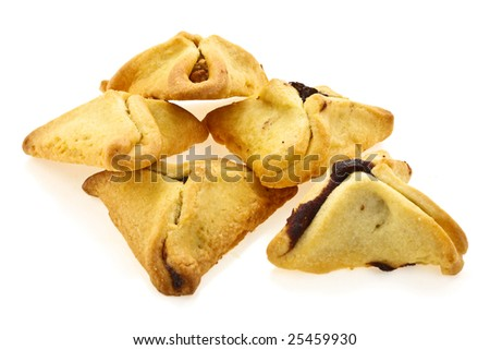 Cookies for a holiday purim on a white background - stock photo