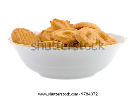 Cookies in a White Bowl Isolated on White