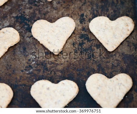 Cookies in the shape of a heart for Valentine's Day