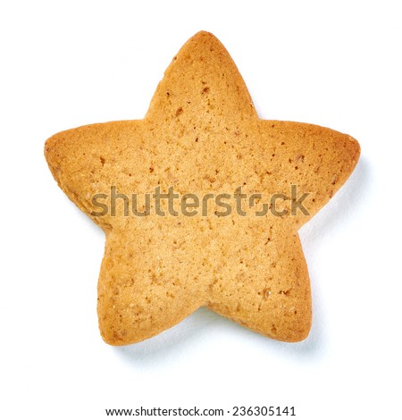 Cookies in the shape of star on white background