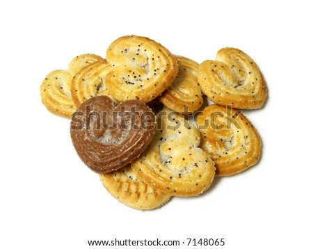 Cookies like heart isolated on white - stock photo