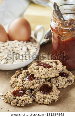 Cookies made from oat flakes and marmalade. - stock photo