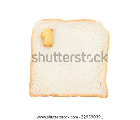 Cookies numbers with bread containing letters - 1,  isolated on white background - stock photo