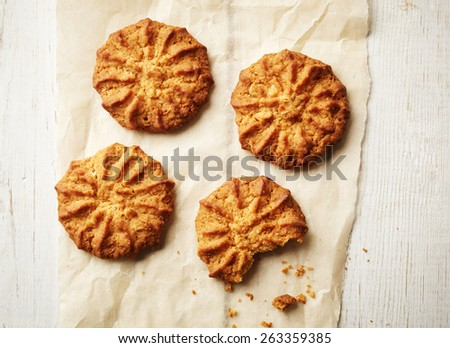 cookies on a parchment paper - stock photo