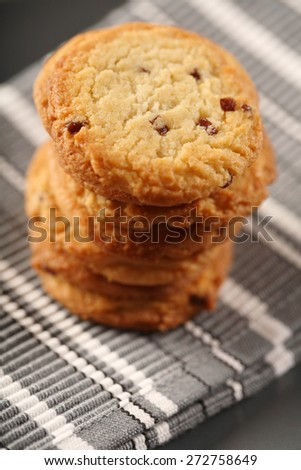 Cookies on cloth - close -up - stock photo