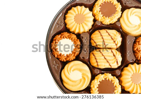 Cookies on plate in white background
