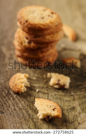Cookies on wooden background - close -up - stock photo