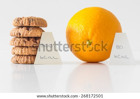 Cookies or orange fruit,  diet choice concept, calorie count - stock photo