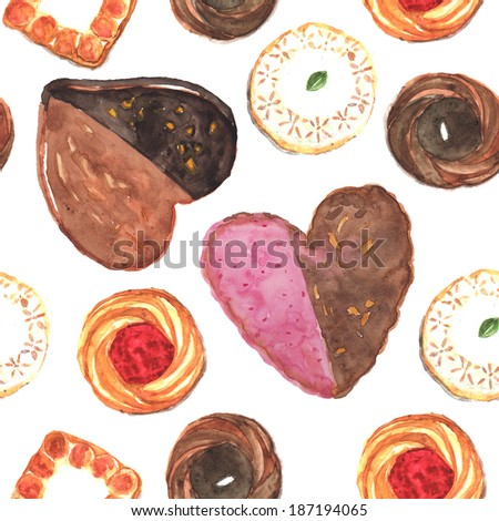 cookies seamless texture in watercolor  - stock photo