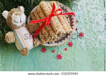 cookies . sweet rolls with sesame seeds on the christmas table. holidays and events concept.top view - stock photo