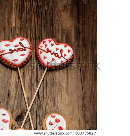 cookies. Valentine's Day. a small sweet cake, typically round, flat, and crisp. - stock photo