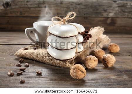 cookies walnuts and coffee  - stock photo