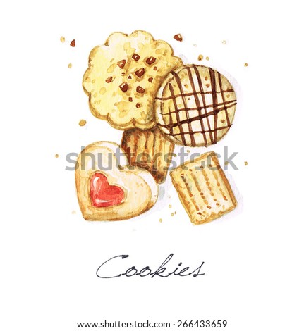 Cookies - Watercolor Food Collection - stock photo