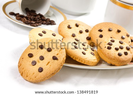 cookies with chocolate drops isolated on white background - stock photo
