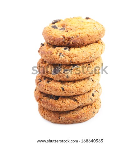 Cookies with chocolate isolated on white background.