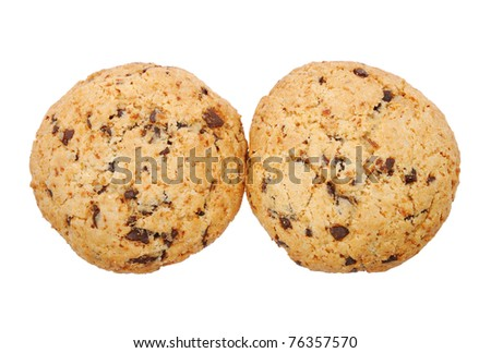 Cookies with chocolate isolated on white background