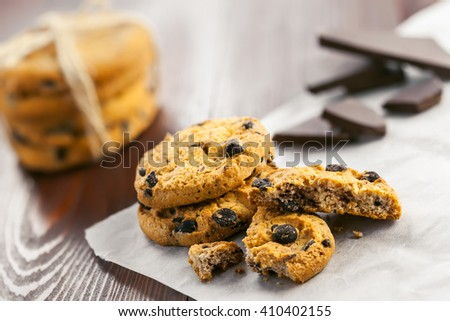 Cookies with chocolate on a table. Homemade sweet biscuits.