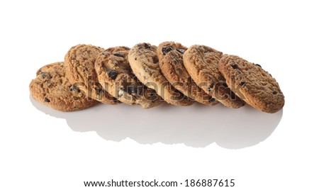 cookies with chocolate on a white background isolate - stock photo