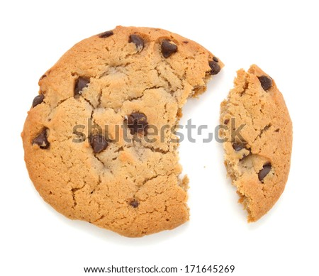cookies with chocolate on a white background, isolates  - stock photo