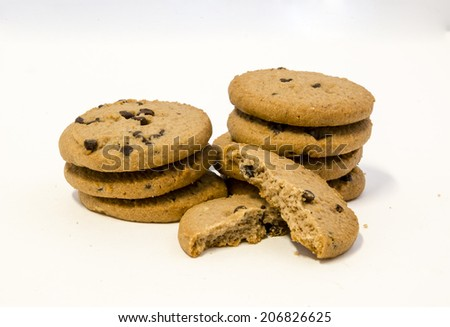Cookies with chocolate studio shot - stock photo