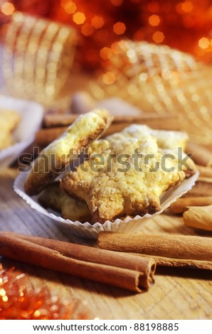 cookies with cinnamon - stock photo