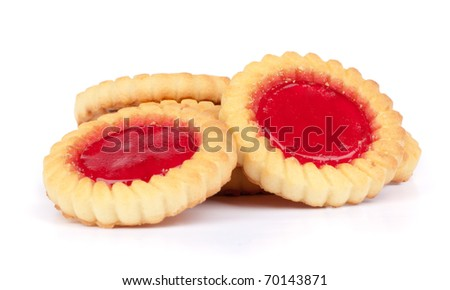 cookies with jam closeup isolated on a white - stock photo